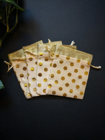 Polka Dot Silk Potli (small)