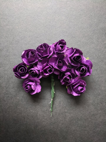 Dark Purple Paper Flowers - Pack of 12