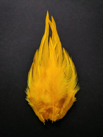 Fire Yellow - Long Pointed Natural Feathers (100 Pieces)