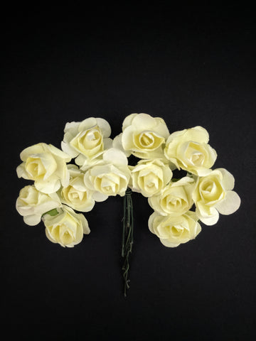 Lemon Yellow Paper Flowers - Pack of 12