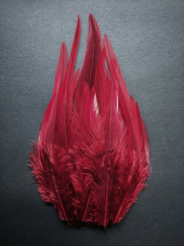 Maroon - Long Pointed Natural Feathers (100 Pieces)