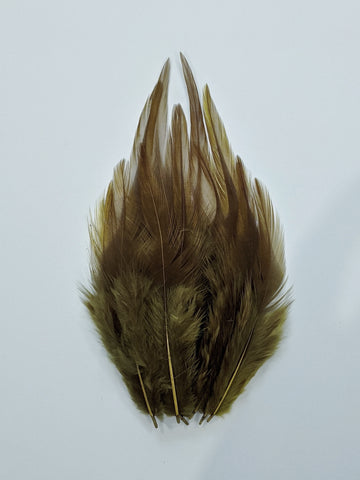 Moss Green - Long Pointed Natural Feathers (100 Pieces)