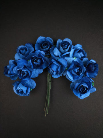Navy Blue Paper Flowers - Pack of 12