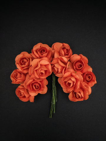 Orange Paper Flowers - Pack of 12