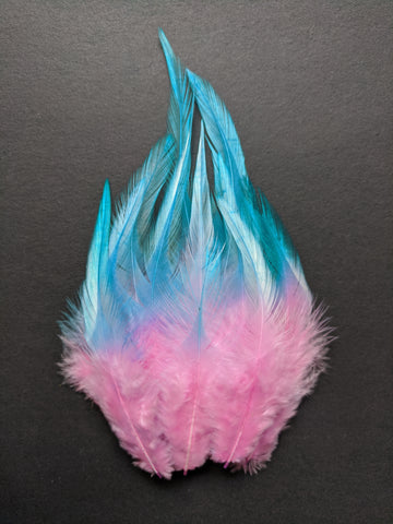 Baby Pink & Turquoise - Long Pointed Natural Feathers (100 Pieces)