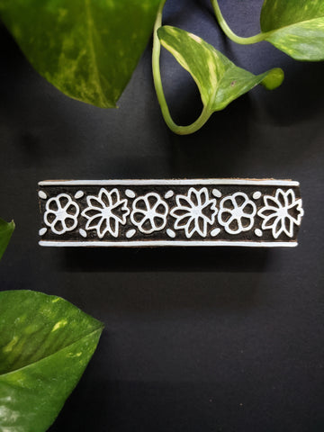 Flower Print Rectangular Wooden Block