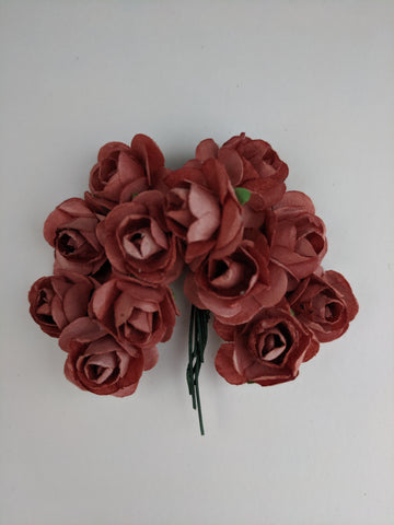 Rust Paper Flowers - Pack of 12