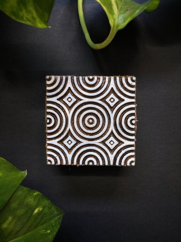 Spiral Waves Square Wooden Block