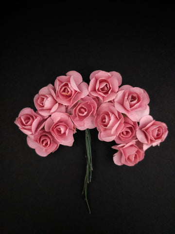 Salmon Pink Paper Flowers - Pack of 12