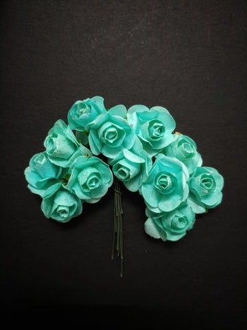 Sea Green Paper Flowers - Pack of 12