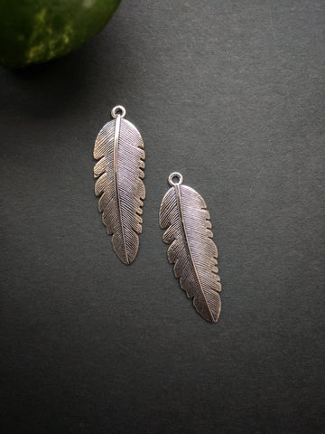 Silver Feather Metal Charm (Pack of 2)