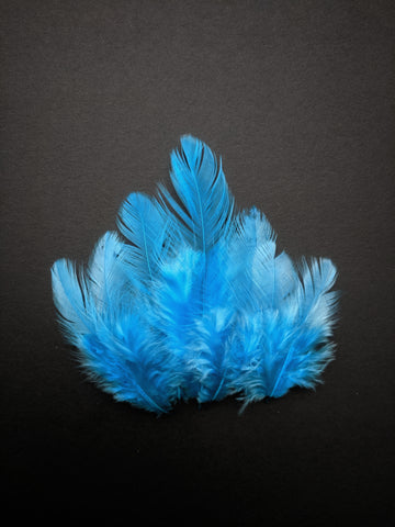 Sky Blue - Natural Small Feathers (100 Pieces)