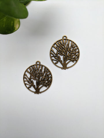 Tree Metal Charm (Pack of 2)