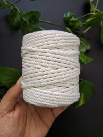 White - 4mm Twisted Macrame Thread