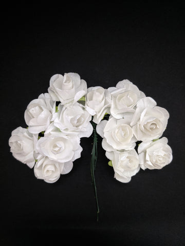 White Paper Flowers - Pack of 12