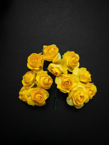 Bright Yellow Paper Flowers - Pack of 12
