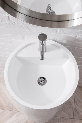 "17.5"" Quebec Solid Surface Pedestal Single Sink, Bright White"