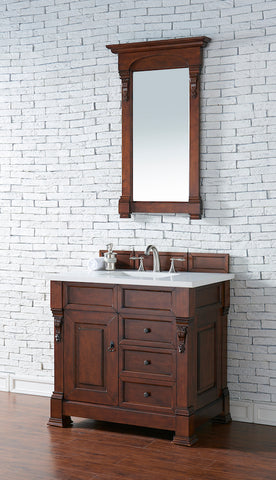 "36"" Brookfield Single Bathroom Vanity w/Drawers, Warm Cherry"