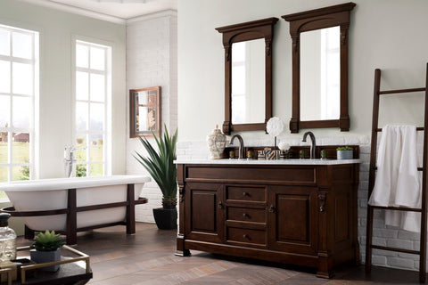 "60"" Brookfield Burnished Mahogany Double Vanity Bathroom Vanity, James Martin Vanities - vanitiesdepot.com"