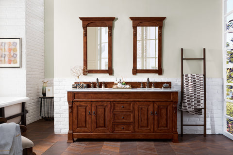 "72"" Brookfield Warm Cherry Double Bathroom Vanity, James Martin Vanities - vanitiesdepot.com"