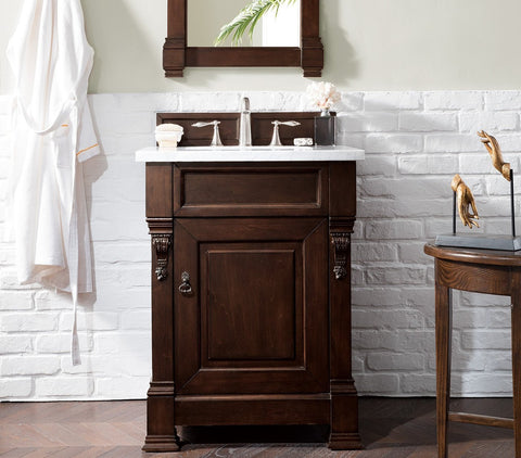 "26"" Brookfield Burnished Mahogany Single Bathroom Vanity, James Martin Vanities - vanitiesdepot.com"