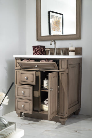 "30"" Bristol Whitewashed Walnut Single Bathroom Vanity, James Martin Vanities - vanitiesdepot.com"
