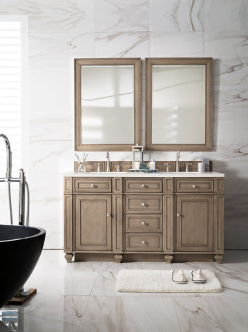 "60"" Bristol Whitewashed Walnut Double Bathroom Vanity, James Martin Vanities - vanitiesdepot.com"
