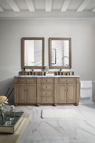 "72"" Bristol Whitewashed Walnut Double Bathroom Vanity, James Martin Vanities - vanitiesdepot.com"