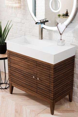 "36"" Linear Single Sink Bathroom Vanity, Mid Century Walnut"