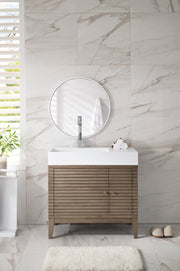 "36"" Linear Single Sink Bathroom Vanity, James Martin Vanities - vanitiesdepot.com"