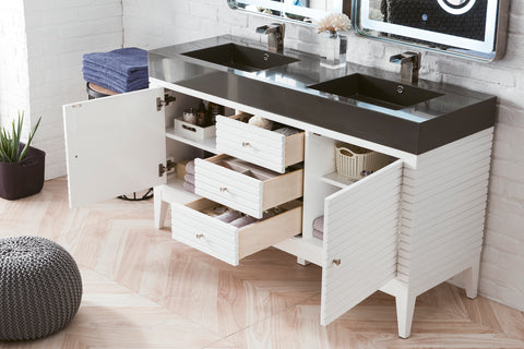 "59"" Linear Double Sink Bathroom Vanity, Glossy White"