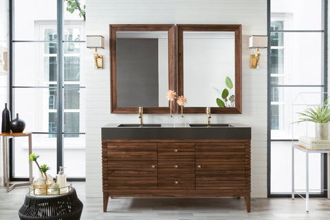 "59"" Linear Double Sink Bathroom Vanity, Mid Century Walnut"