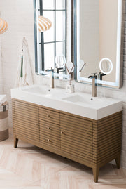 "59"" Linear Double Sink Bathroom Vanity, Whitewashed Walnut"