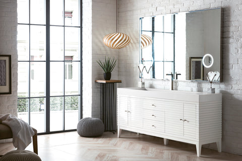 "72"" Linear Single Sink Bathroom Vanity, Glossy White"