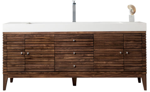"72"" Linear Single Sink Bathroom Vanity, Mid Century Walnut"