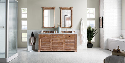 "72"" Savannah Double Sink Bathroom Vanity, Driftwood"