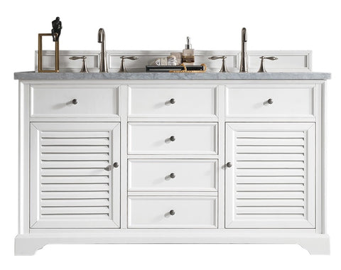 "60"" Savannah Double Sink Bathroom Vanity, Bright White"
