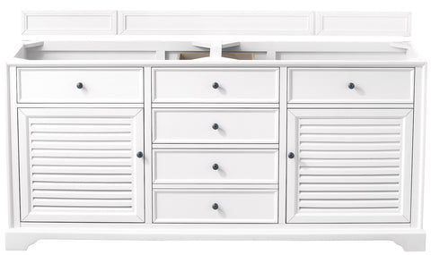 "72"" Savannah Double Sink Bathroom Vanity, Bright White"