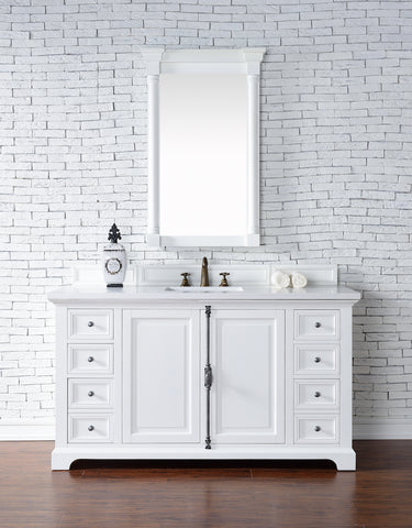 "60"" Providence Single Bathroom Vanity, Bright White"