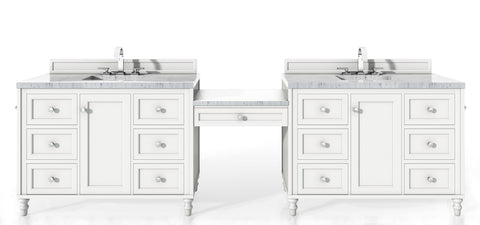 "122"" Copper Cove Encore Double Sink Bathroom Vanity, Bright White"