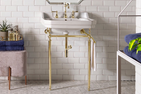 "24"" Wellington Single Console Sink Bathroom Vanity, Brass Stand"