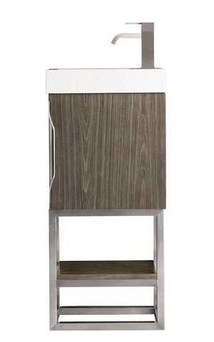 "16"" Columbia Single Sink Bathroom Vanity, Ash Gray, Brushed Nickel w/ Top"