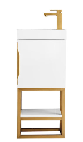 "16"" Columbia Single Sink Bathroom Vanity, Glossy White, Radiant Gold w/ Top"