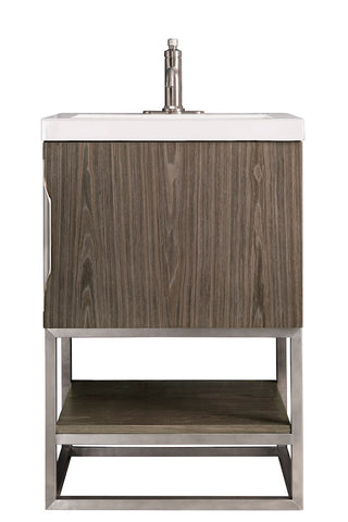 "24"" Columbia Single Sink Bathroom Vanity, Ash Gray, Brushed Nickel w/ Top"