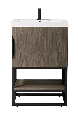 "24"" Columbia Single Sink Bathroom Vanity, Ash Gray, Matte Black w/ Top"