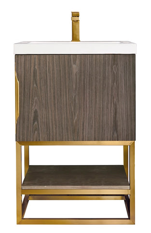 "24"" Columbia Single Sink Bathroom Vanity, Ash Gray, Radiant Gold w/ Top"