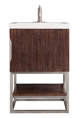 "24"" Columbia Single Sink Bathroom Vanity, Coffee Oak, Brushed Nickel w/ Top"
