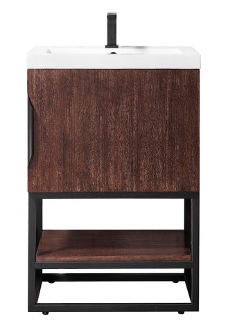 "24"" Columbia Single Sink Bathroom Vanity, Coffee Oak, Matte Black w/ Top"
