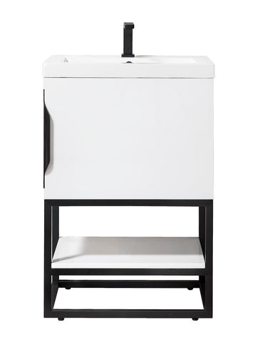 "24"" Columbia Single Sink Bathroom Vanity, Glossy White, Matte Black w/ Top"