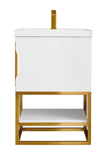 "24"" Columbia Single Sink Bathroom Vanity, Glossy White, Radiant Gold w/ Top"